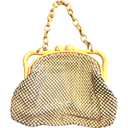 Vintage Whiting and Davis White Alumesh purse cellusloid chain handle and carved frame