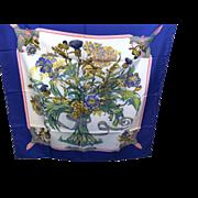 Hermes silk scarf flower vase by Regina Lelia Manchari never worn in orange box