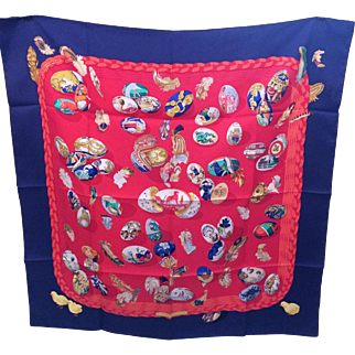 Hermes Silk Scarf  couvee d'hermes egg print Navy and Red in the original box