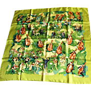 Hermes France genuine silk scarf Concerto  by Jean-Louis Clerc lime green MIB