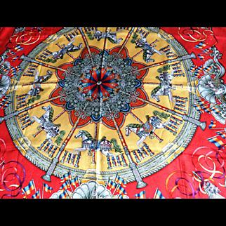 Authentic Hermes Silk Jacquard Red Scarf Luna Park Carousel Horses by Joachim Metz MIB