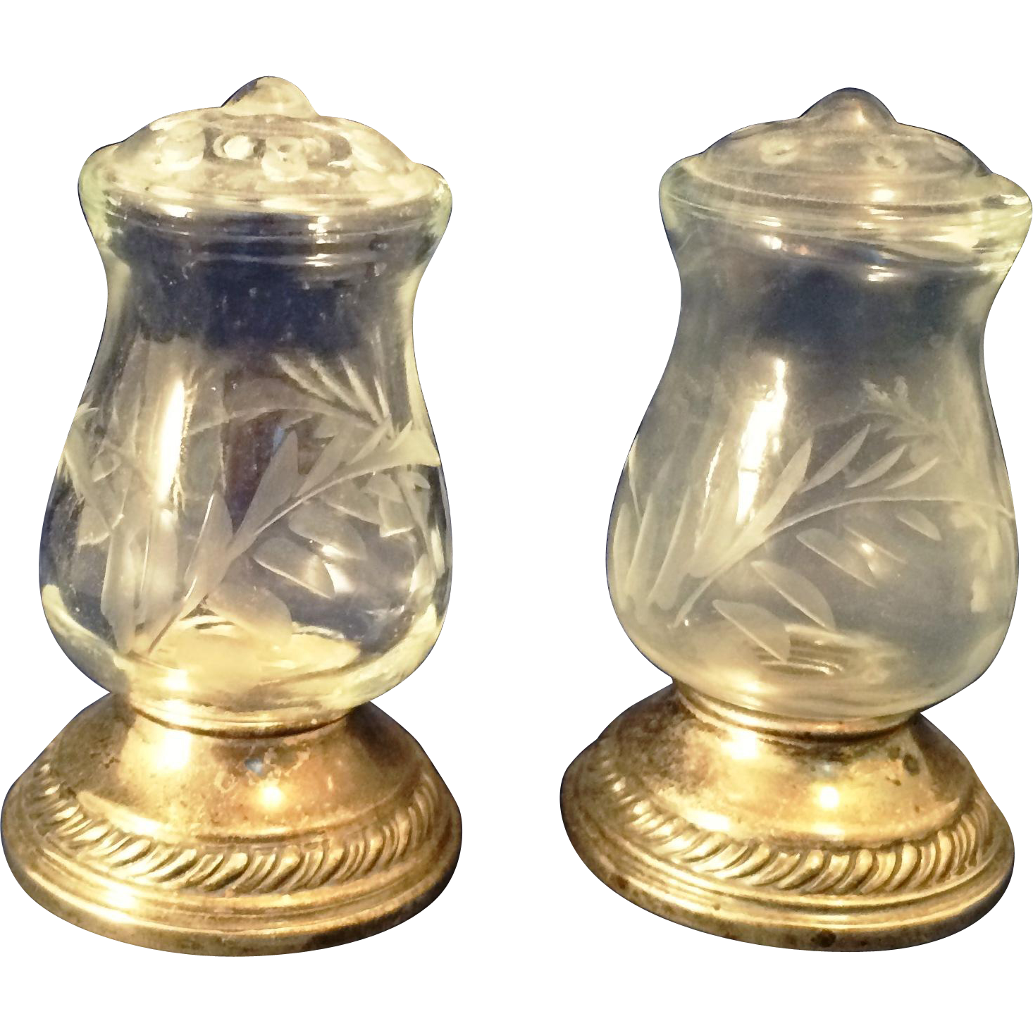 Pair Of Unusual Quaker Sterling And Cut Glass Salt