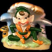 Pixie Elf under the mushrooms small planter match holder