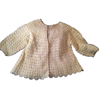 Vintage hand Crochet Baby Sweater Ecru with sparkle