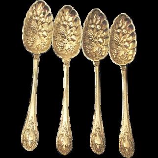 4   Walker & Hall 1890's English Birmingham Silverplate Fruit Spoons