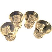 4 Lalique Crystal Enfants pattern liquor shot glasses