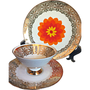 MCM Winterling Bavaria Marktleuthen 3 pc. Dessert set Orange flower