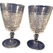 2 vintage Duncan-Miller Glass Water goblets old-Sandwich pattern