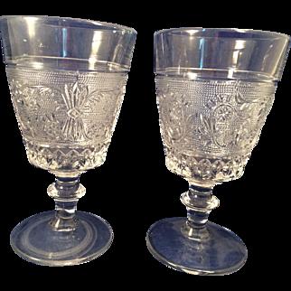 2 vintage Duncan-Miller Glass Water goblets old-Sandwich pattern