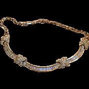 Alluring Marcel Boucher Original Rhinestone Choker Necklace Baguette and Round stones  Original box