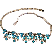 Sparkling Marcel Boucher Originals Aqua and Clear Rhinestone choker necklace