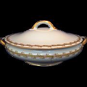 Haviland Limoges GDA covered vegetable dish server bowl floral trellis design