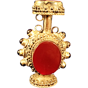 "Sterling Silver and Hardstone Carnelian 2 1/4"" snuff bottle"