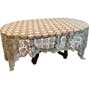 large Ivory color hand crochet multi pattern tablecoth or throw