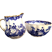 Doulton Burslem England flow blue mini Cream and Sugar