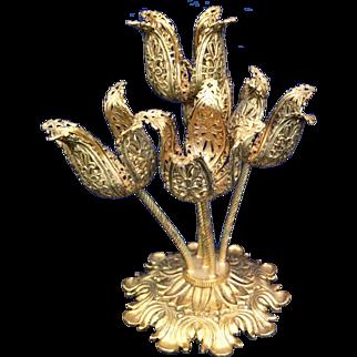 Hollywood Regency Stylebuilt gold plated Tulip lipstick holder