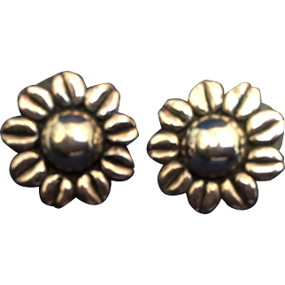 Pair of Mexico 925 Sterling Sunflower pierced earrings signed MWS