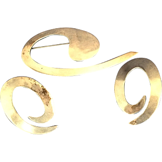 Signed Ruth Mexico Sterling modernistic Earrings and Brooch TC-60-925