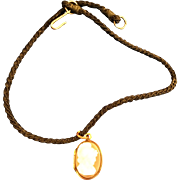 Vintage hardstone locket with Roman Soldier cameo on silk cord