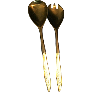 Mid Century Modern Heirloom Oneida YOUNG LOVE Sterling Silver and black lucite Salad  Fork & Spoon