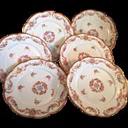 6 A K Limoges porcelain Dessert plates Pink & Purple flowers