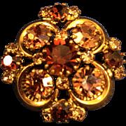 Unsigned Beauty Purple Rhinestone & Gold tone metal Broach Pin