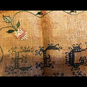 Antique hand stitched  alphabet Sampler