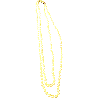 2 strand Graduated Culture Pearl Necklace 14kwg clasp