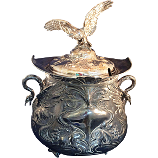 VintageLarge Silver plate Lidded Punch Bowl, tureen Flying Bird finial