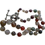 Sterling Hand Wired Reticulated Quartz Graduated Bead Necklace