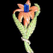 Vintage Trembler Enamel Lily Pin