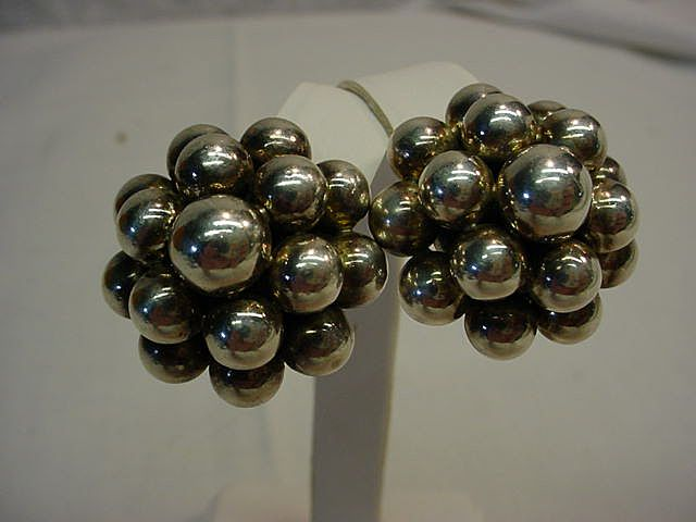 Vintage Signed 925 ZINA Sterling Silver Clip Earrings