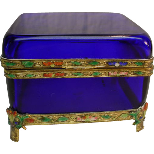 China Cloisonne Hinged Brass Cobalt Blue Crystal Casket