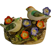 Vintage Made In Japan Bird Nest Vase with Applied Flowers