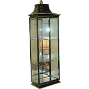 Vintage Chinoiserie Glass Cabinet w/ Light