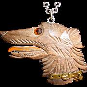 Sterling Vintage Carved Wood Dog Necklace w/ Collar