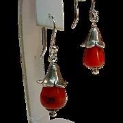 Sterling Natural Coral Flower Blossom Earrings