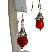 Sterling Natural Coral Flower Blossom Earrings