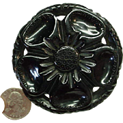 Vintage Carved Pierced Hefty Black Bakelite Flower Pin