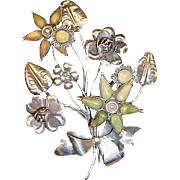 Huge Large Dimensional Vintage Assembled Sterling Flower Pin
