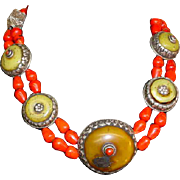 Antique Sterling Tibetan Coral Wedding Collar Bead Necklace