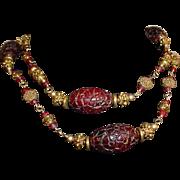 Vintage Carved Floral Amber with Brass Element Necklace