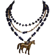 Sterling Lapis Lazuli Horse Three Tier Necklace