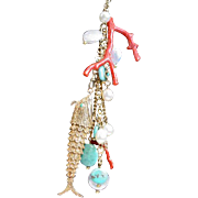 Vintage Assembled Reticulated Fish with  Freshwater Pearl Turquoise Pendant Necklace