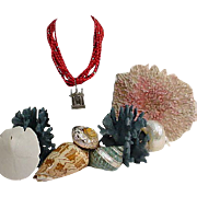 Rebecca Collins Sterling Chapel Pendant Coral Necklace