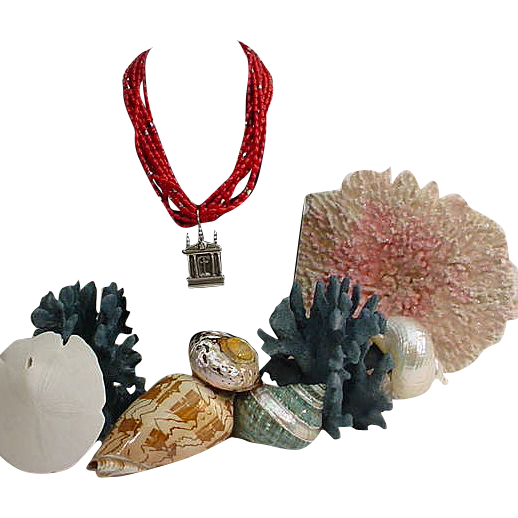 Rebecca Collins Sterling Chapel Pendant Coral Necklace