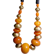 Original Stacey Porter Amber Copal Trade Bead Necklace