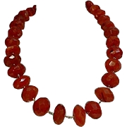 Faceted Carnelian Sterling Vermeil Necklace