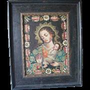 Antique Reproduction Sancto Religious Catholic Madonna amd Child in frame