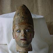 Antique Sancto Religious Catholic Bishop Head Antique Glass Eye Statue Part